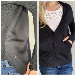 Lululemon Dark Grey Thumbhole Cardigan Sweater S